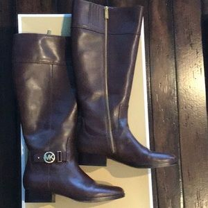 Michael Kors brown riding boots, wide shaft